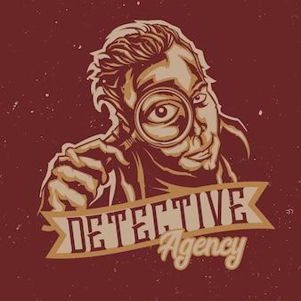 Mannen met vergrootglas, detectivebureau illustratie met belettering Gratis Vector