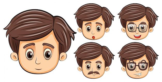Mannen met verschillende gezichtsuitdrukkingen