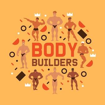 Mannen natuurkunde karakters samenstelling. muscle bodybuilder mannen buigen zijn spieren. fitnessmodellen, poseren, bodybuilding. sporters in de sportschool. sterke mensen.