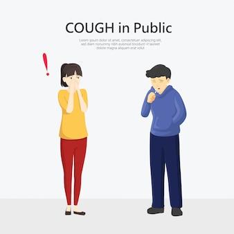Mannen niezen en hoesten, vrouwen die hun neus bedekken, virussen, koorts en corona, covid-19