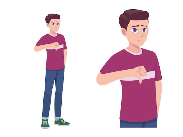 Mannen of jongen duim omlaag afkeer en teleurgesteld expressie vormen cartoon afbeelding