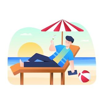 Mannen ontspannen op het strand en drinken sap