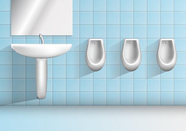 Mannen openbare toiletruimte minimalistisch realistisch