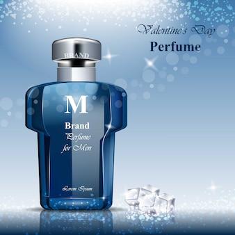 Mannen parfumflesje geur. realistische vectorproductverpakking ontwerpt mock-ups