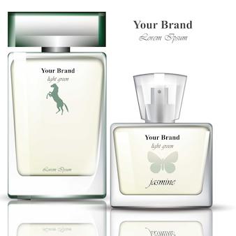 Mannen parfumflesjes realistisch. productverpakkingen voor merken, adverteren, commercials