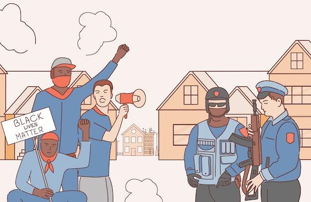 Mannen protesteren tegen racisme en rassendiscriminatie cartoon schets illustratie. politieagenten en demonstranten. zwarte levens zijn belangrijk, gelijke rechten voor iedereen.