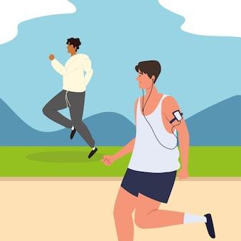 Mannen rennen in het park