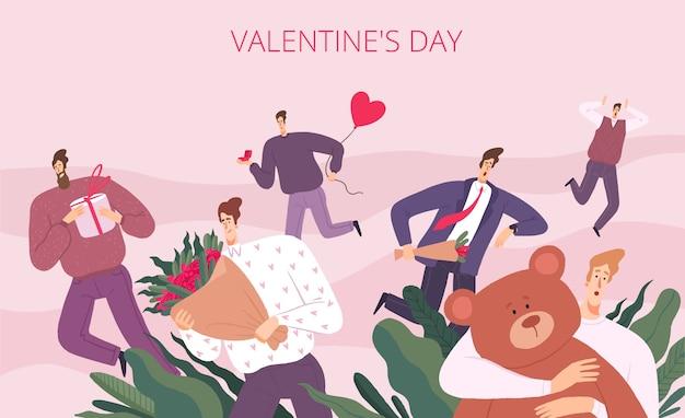 Mannen rennen op sint valentijn Premium Vector