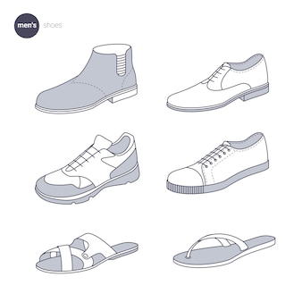 Mannen schoenen. kleding dunne lijnstijl.