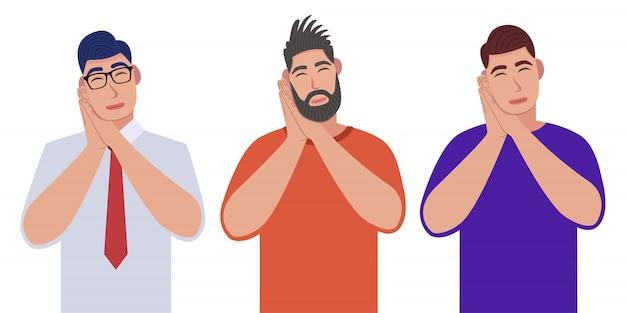 Mannen slapen moe dromen en poseren met handen samen terwijl ze glimlachen met gesloten ogen. karakterset.