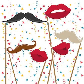 Mannen snorren en vrouwelijke lippen