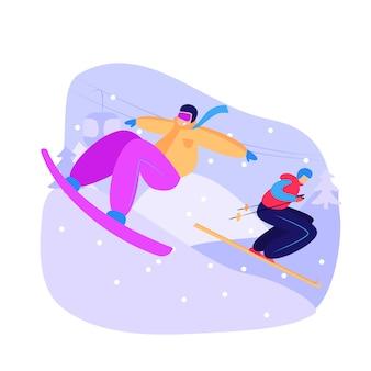 Mannen snowboarden en skiën bergafwaarts