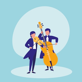 Mannen spelen cello avatar karakter