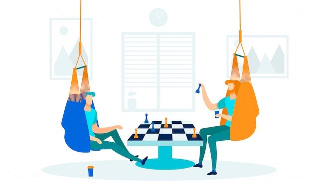 Mannen spelen schaakspel vlakke afbeelding