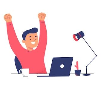 Mannen succes laptop verlichten werk van thuiscomputer geweldig