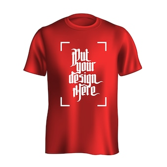 Mannen t-shirt ontwerpsjabloon. rode mockup geïsoleerd op een witte achtergrond