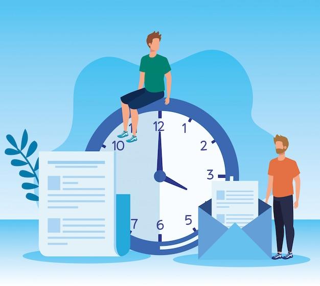 Mannen teamwork met documenten informatie en klok