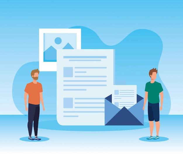 Mannen teamwork met documenten rapport en brief