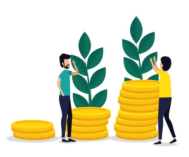 Mannen teamwork met munten en planten