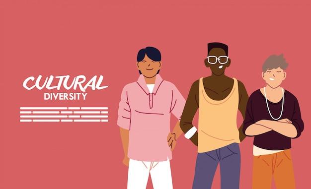 Mannen tekenfilms ontwerp, culturele en vriendschap diversiteit thema