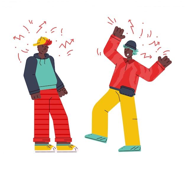 Mannen tekens vechten en ruzie schets illustratie geïsoleerd.