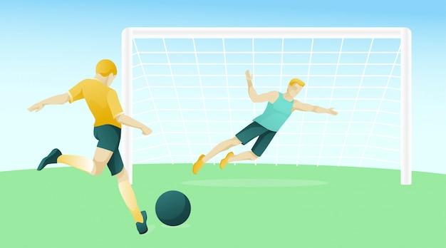 Mannen tekens voetballen op voetbalveld
