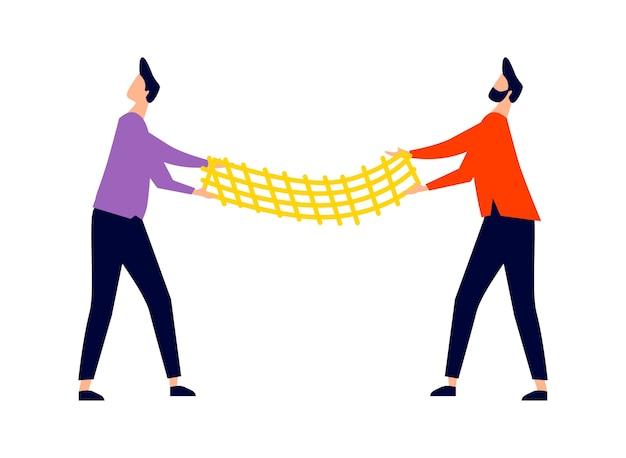 Mannen uitgerekt trampoline net, redding van vallen van hoogte concept, cartoon afbeelding pictogram
