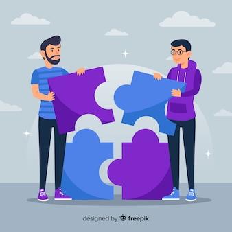 Mannen verbindende puzzelstukjes achtergrond