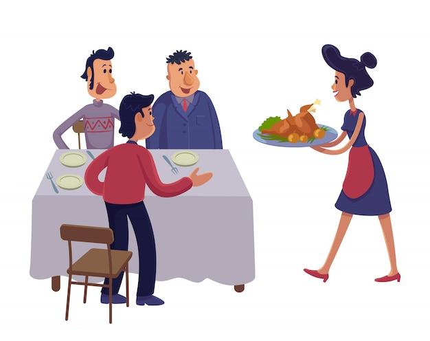 Mannen verzamelen samen aan tafel cartoon afbeelding. mannelijke volwassenen en serveerster met kalkoen. gebruiksklare tekensjabloon voor reclame, animatie, afdrukken. komische held