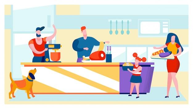 Mannen, vrouwen en meisje op keuken