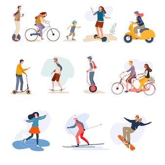 Mannen, vrouwen, kind rijden buiten op karakter hand getrokken geïsoleerd op wit. mensen rijden op de fiets.