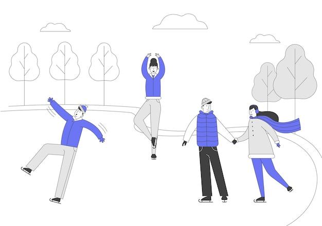 Mannen vrouwen personages kunstschaatsen op bevroren vijver of ijsbaan op winterdag