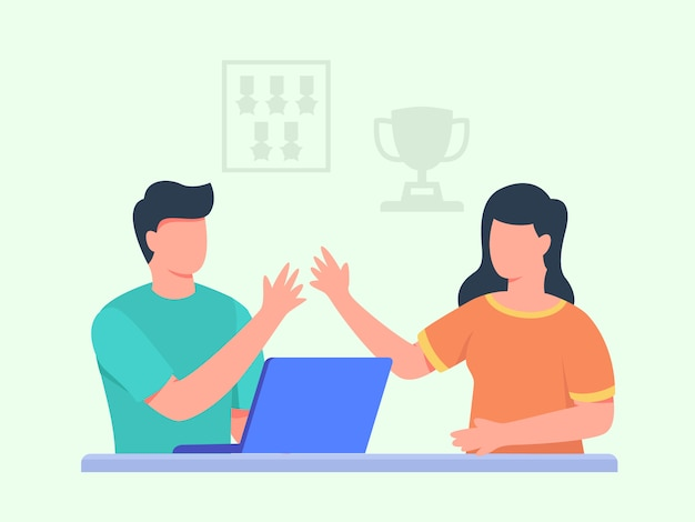 Mannen werken op laptop high five met vrouwen vooraan achtergrondtrofee-medaille met platte cartoonstijl.