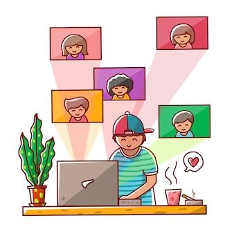 Mannen werken vanuit huis die online illustratie ontmoeten