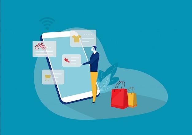 Mannen winkelen online met smartphone, vectorillustratie