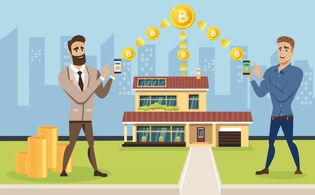 Mannen zijn bezig met mijnen en het ruilen van crypto-valuta