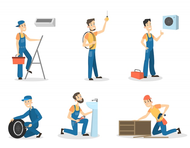 Mannenarbeiders in uniform werkend als loodgieter, ingenieur en meer.