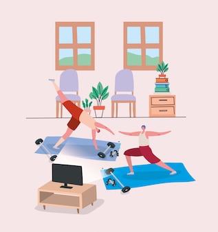 Mannenbeeldverhalen die oefeningsontwerp van thuis blijven doen en de illustratie van het activiteitenthema doen
