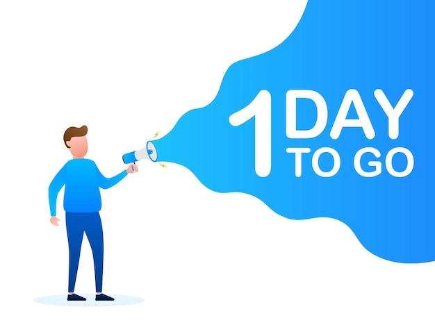 Mannenhand met megafoon met nog 1 dag te gaan tekstballon. luidspreker. banner voor zaken, marketing en reclame. vector stock illustratie