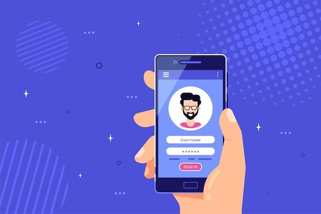 Mannenhand met smartphone met login en wachtwoord formulierpagina op scherm.