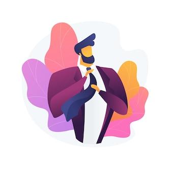 Mannenstijl en mode. mannenkleding, elegante kleding, stijlvolle accessoires. knappe man met luxe jas. macho-bevestigingsband met baard.