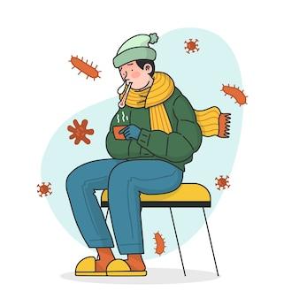 Mannetje dat warme kleren draagt en griep heeft