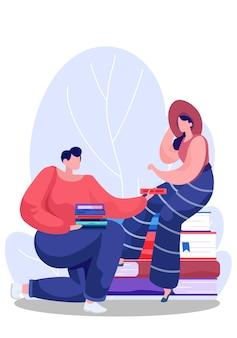 Mannetje draagt boeken in zijn handen, vrouwtje zit op een stapel boeken