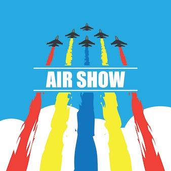 Manoeuvres van een vechtervliegtuigen in de blauwe lucht voor luchtvertoningsbanner. vector illustratie