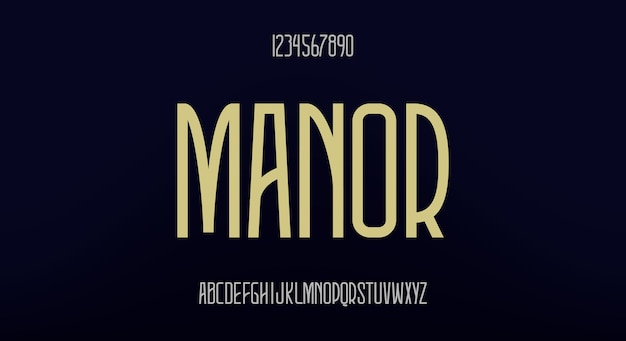 Manor, een elegant hoog lettertype. modern lettertypeontwerp