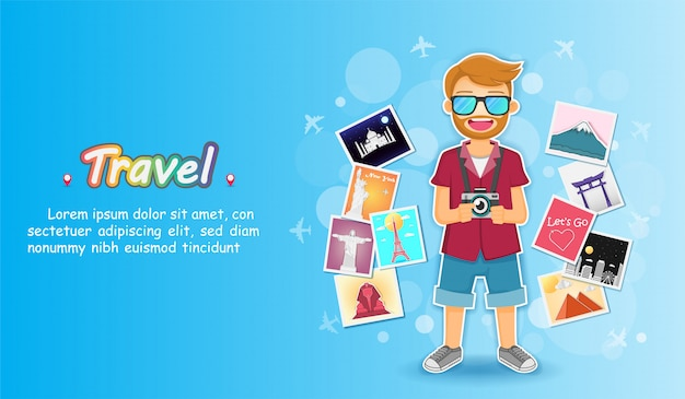 Manreiziger en fotoalbum met reiselementen.