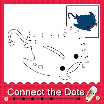 Manta ray kinderpuzzel verbind de stippen werkblad voor kinderen die getallen 1 tot 20 tellen