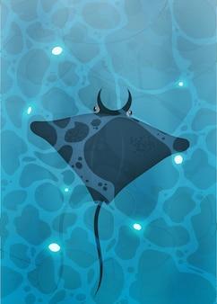Manta ray zwemt onder water
