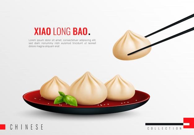 Manti van bollenbavioli gekleurde en realistische samenstelling met de krantekopillustratie van xiao lange bao