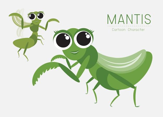 Mantis cartoon character ontwerp; leuk stijlconcept